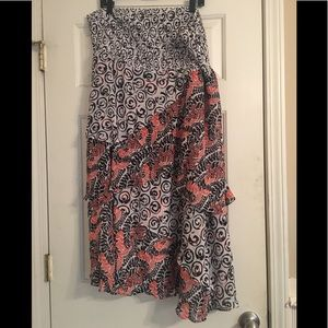 Orange and black layered skirt